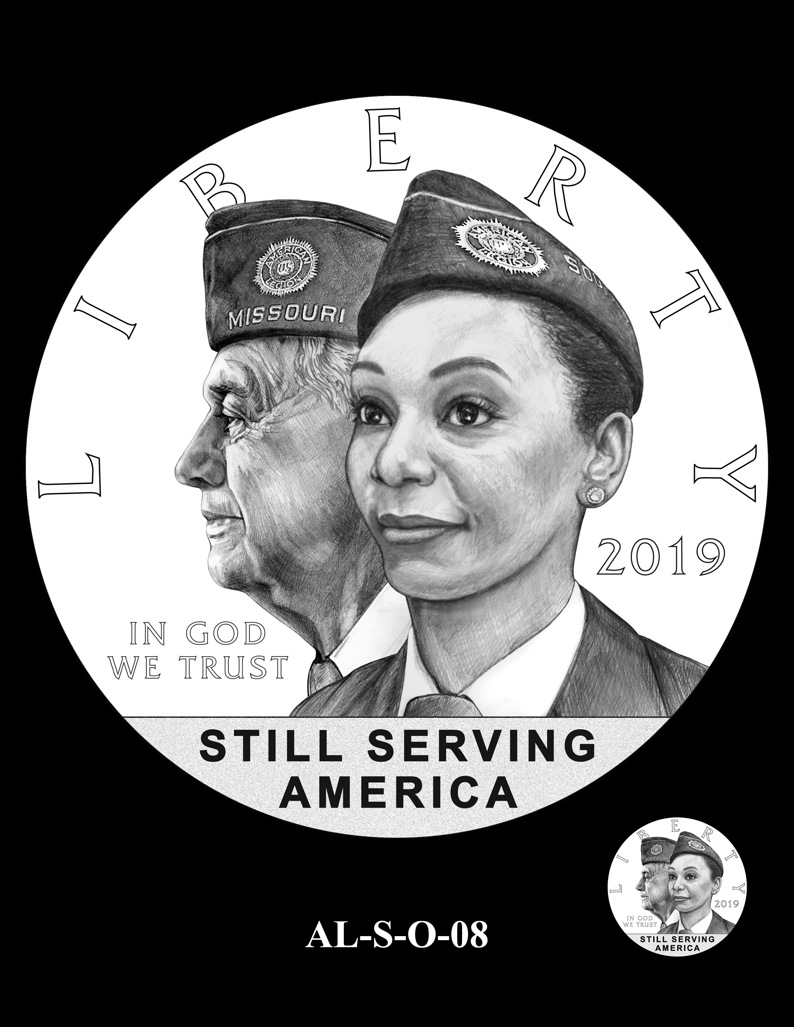 AL-S-O-08 -- 2019 American Legion 100th Anniversary Commemorative Coin Program - Silver Obverse