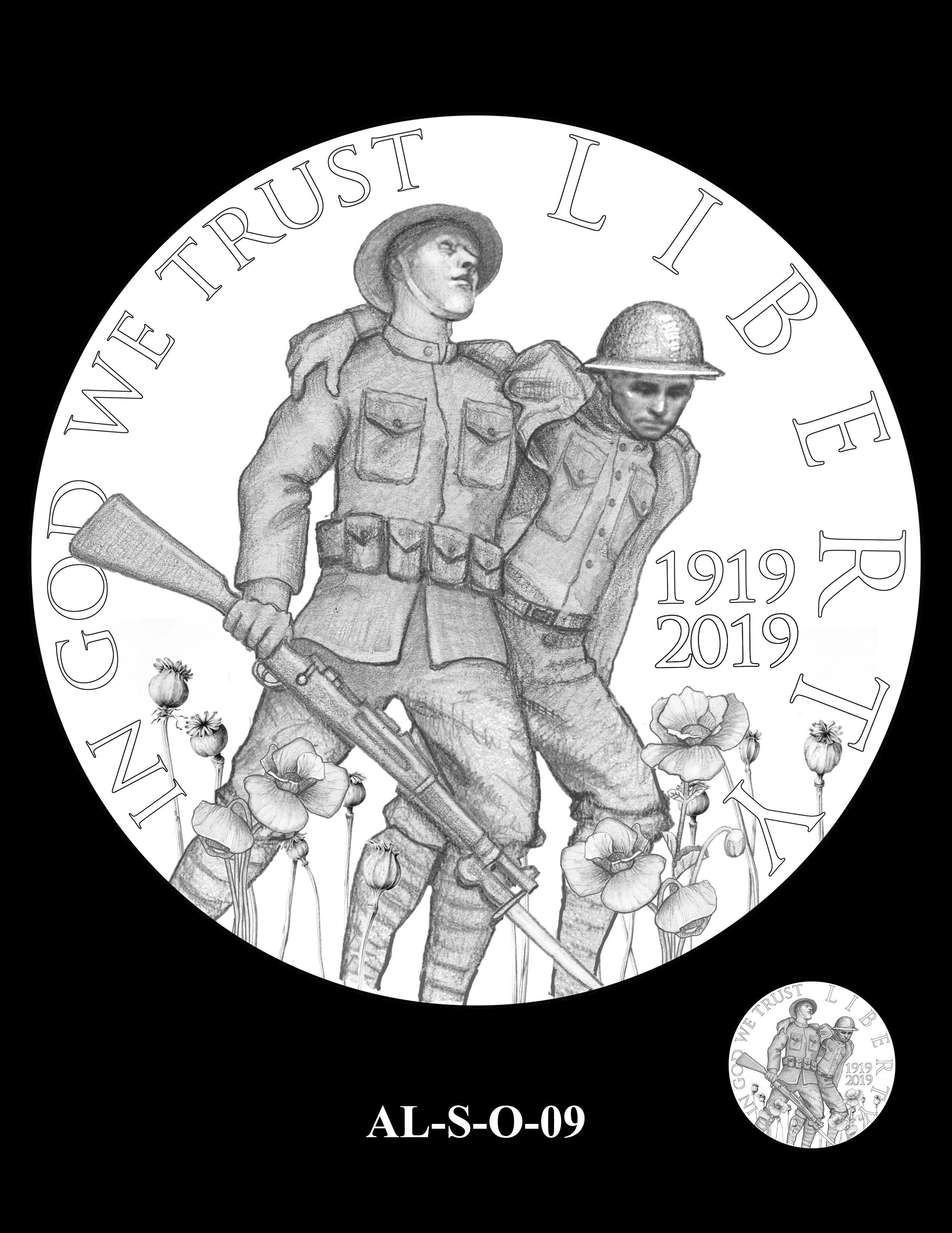 AL-S-O-09 -- 2019 American Legion 100th Anniversary Commemorative Coin Program - Silver Obverse
