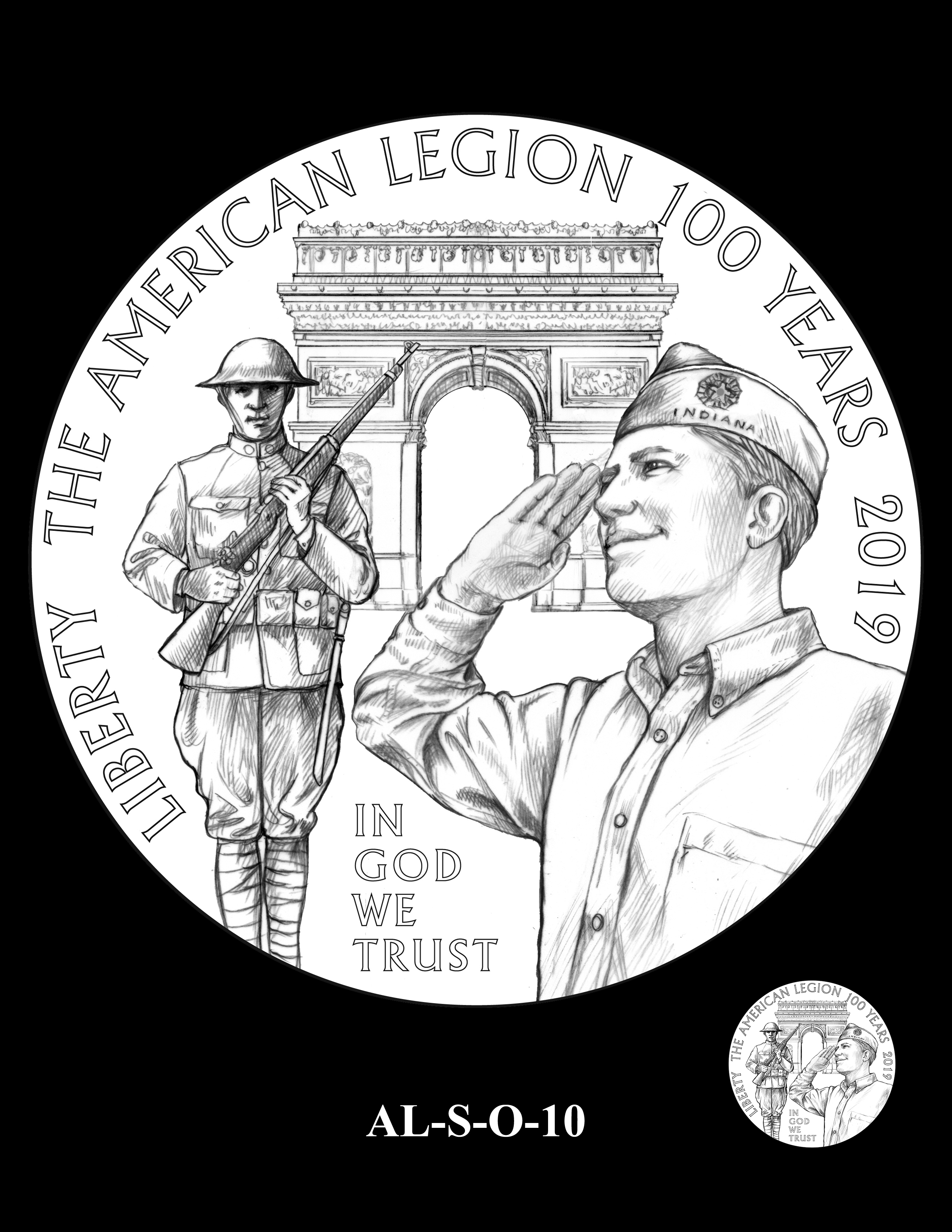 AL-S-O-10 -- 2019 American Legion 100th Anniversary Commemorative Coin Program - Silver Obverse