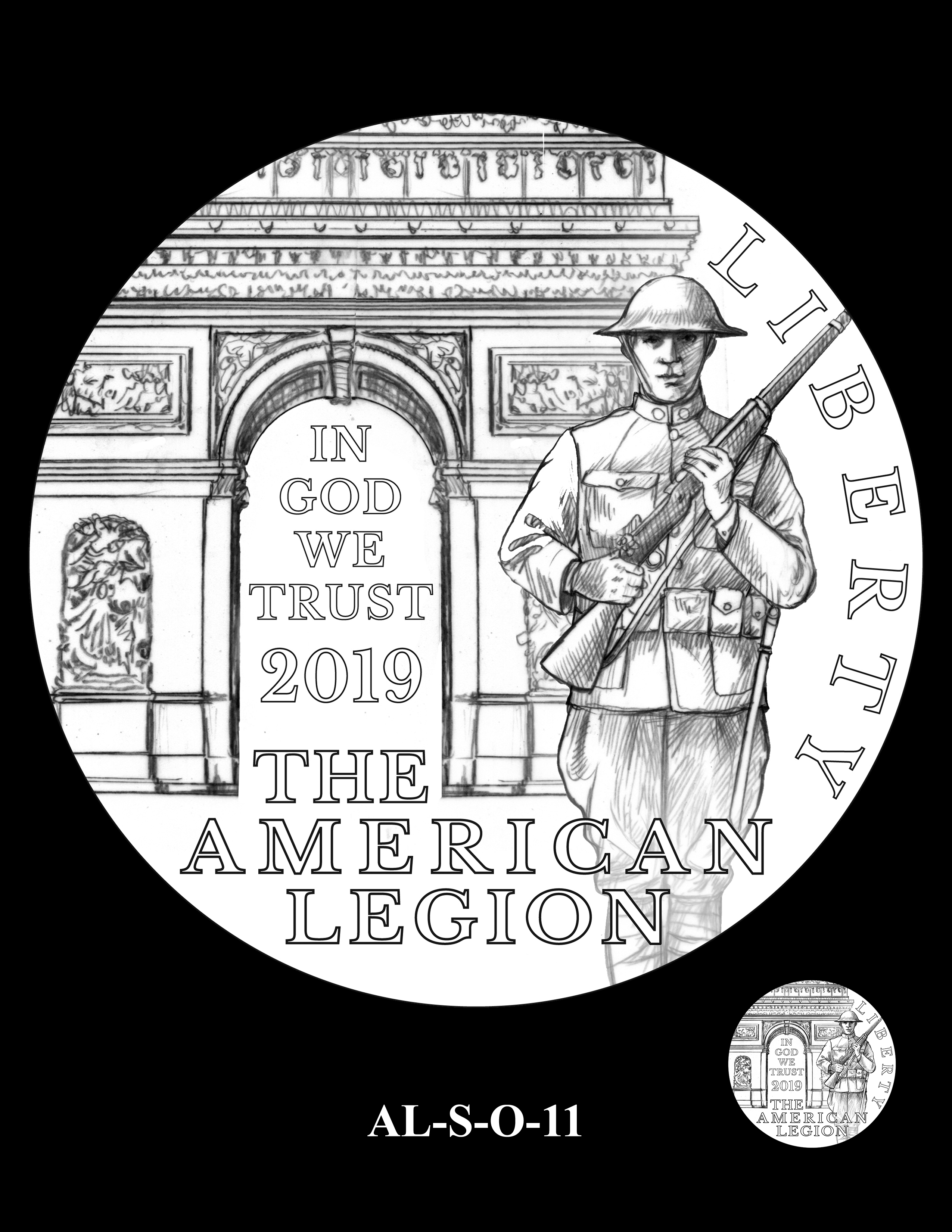AL-S-O-11 -- 2019 American Legion 100th Anniversary Commemorative Coin Program - Silver Obverse