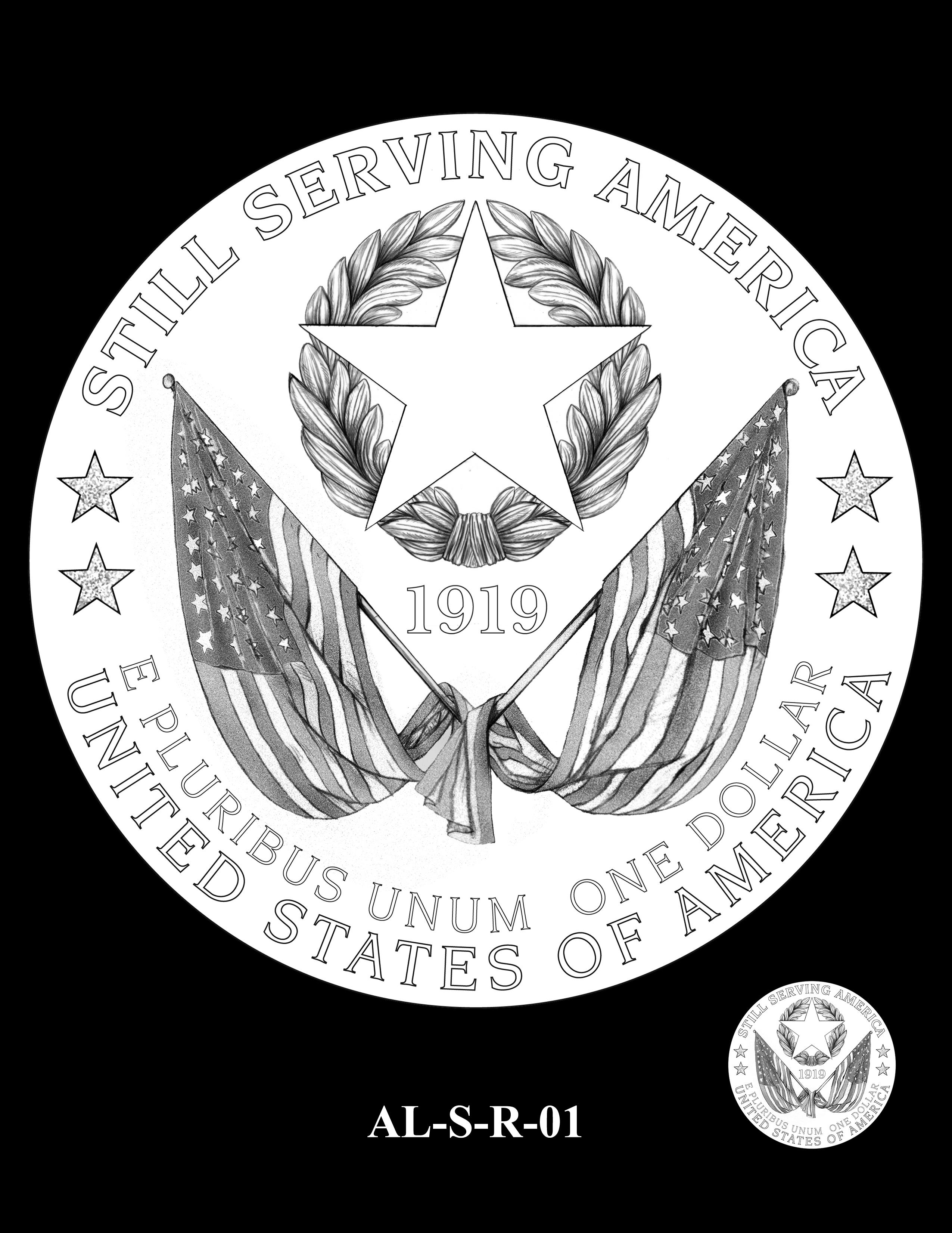 AL-S-R-01 -- 2019 American Legion 100th Anniversary Commemorative Coin Program - Silver Reverse