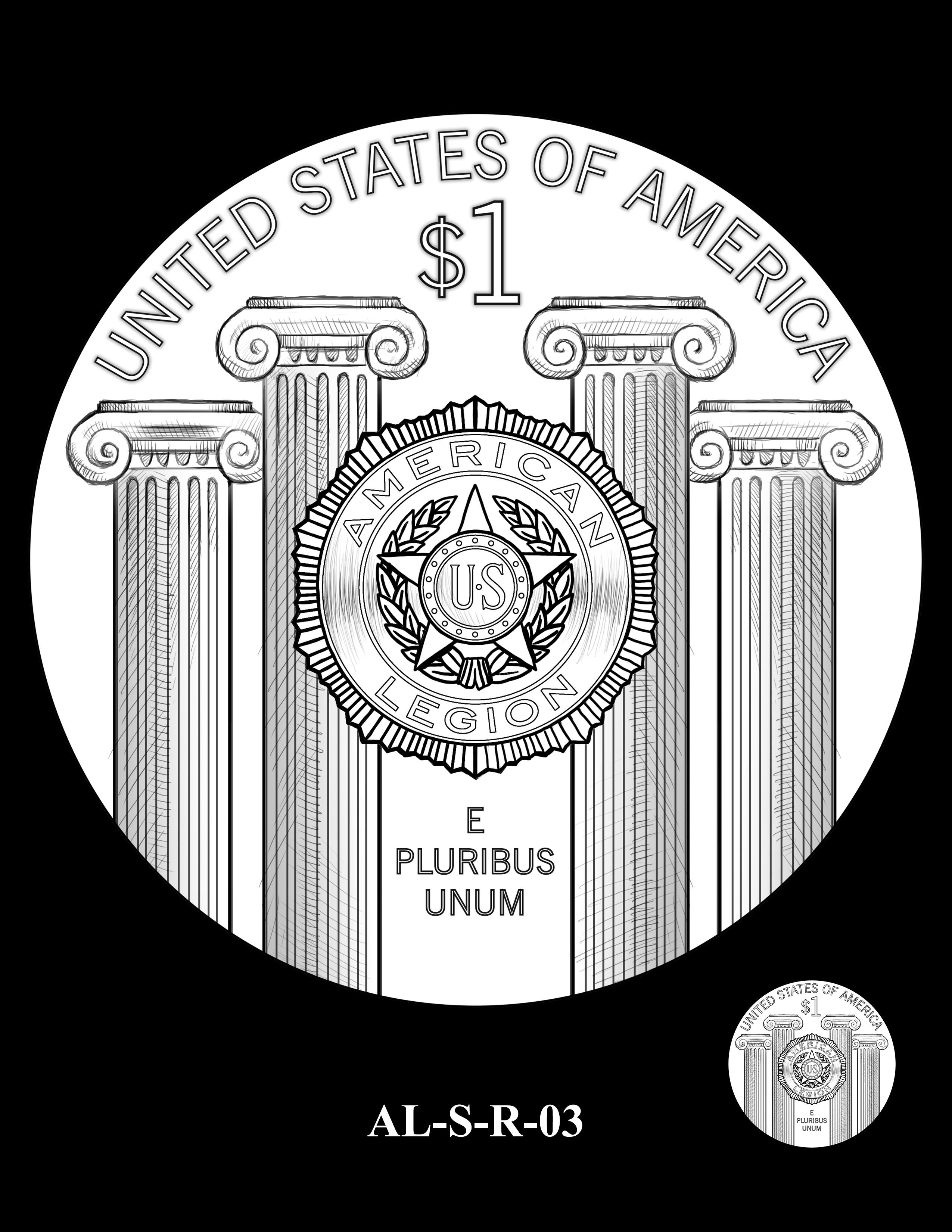 AL-S-R-03 -- 2019 American Legion 100th Anniversary Commemorative Coin Program - Silver Reverse