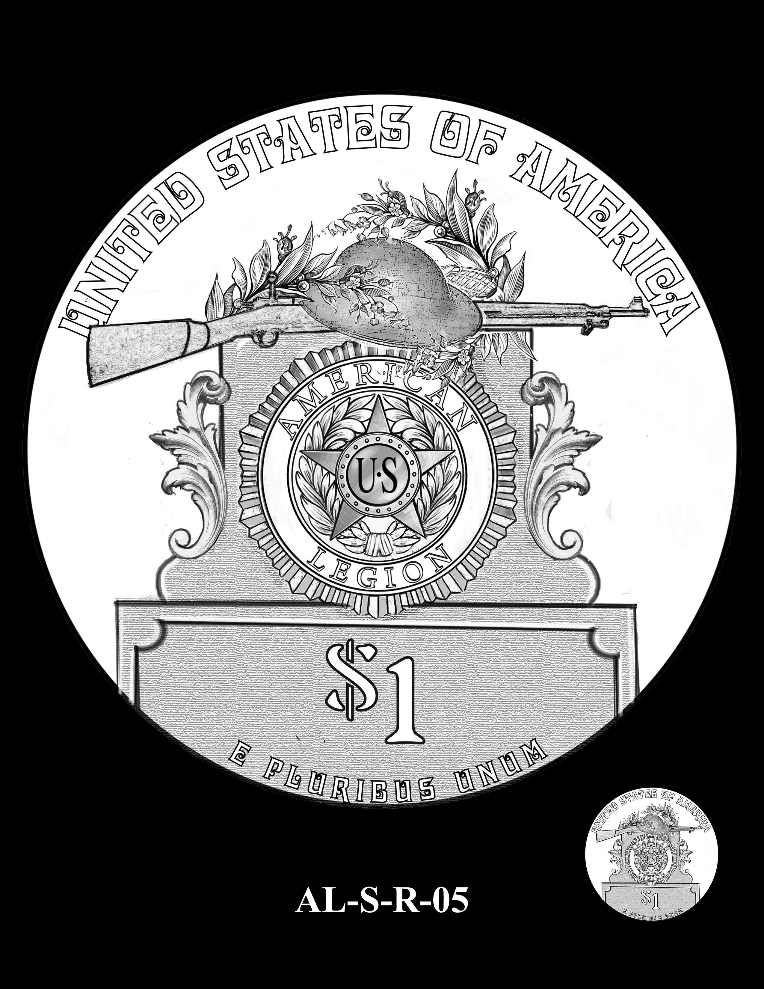 AL-S-R-05 -- 2019 American Legion 100th Anniversary Commemorative Coin Program - Silver Reverse