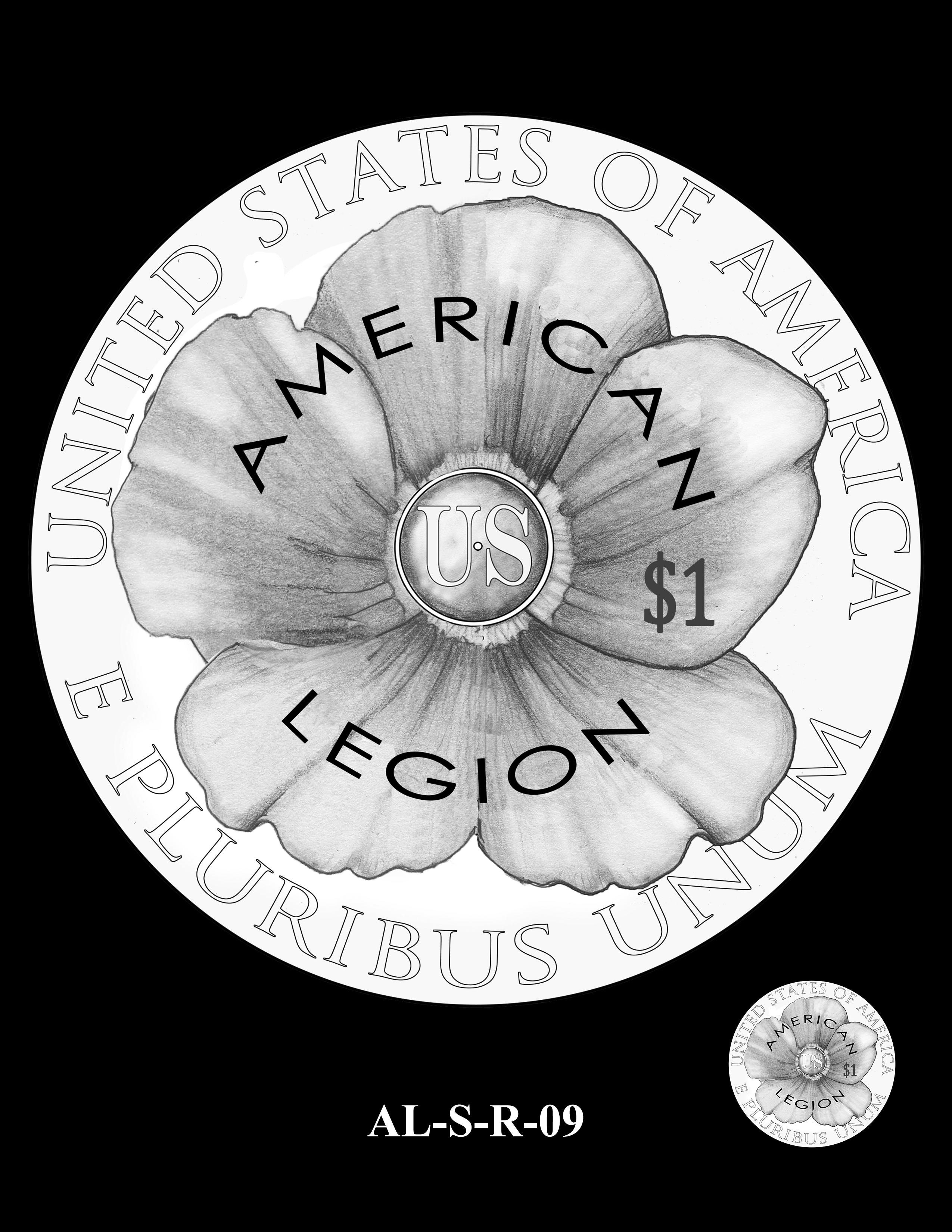 AL-S-R-09 -- 2019 American Legion 100th Anniversary Commemorative Coin Program - Silver Reverse