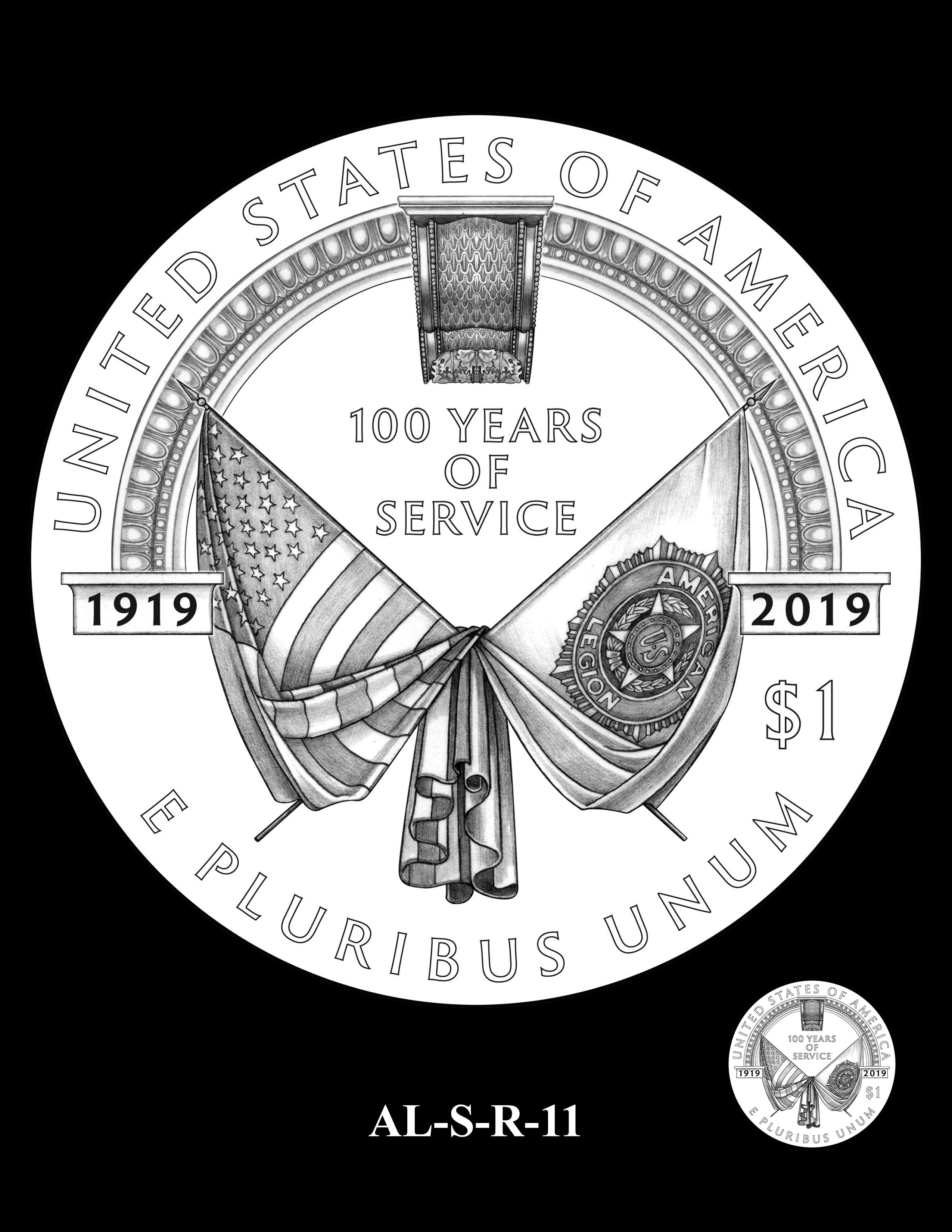 AL-S-R-11 -- 2019 American Legion 100th Anniversary Commemorative Coin Program - Silver Reverse