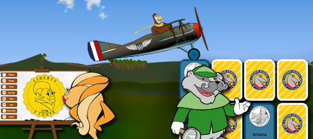 Cartoon fish looking at a coin design; cartoon eagle piloting a word war one plane; cartoon badger next to line of cards