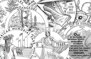 collage of coin design drawings