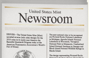 """United State Mint Newsroom"" newspaper mockup"