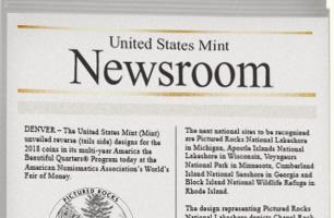 """United State Mint Newsroom"" newspaper mockup"