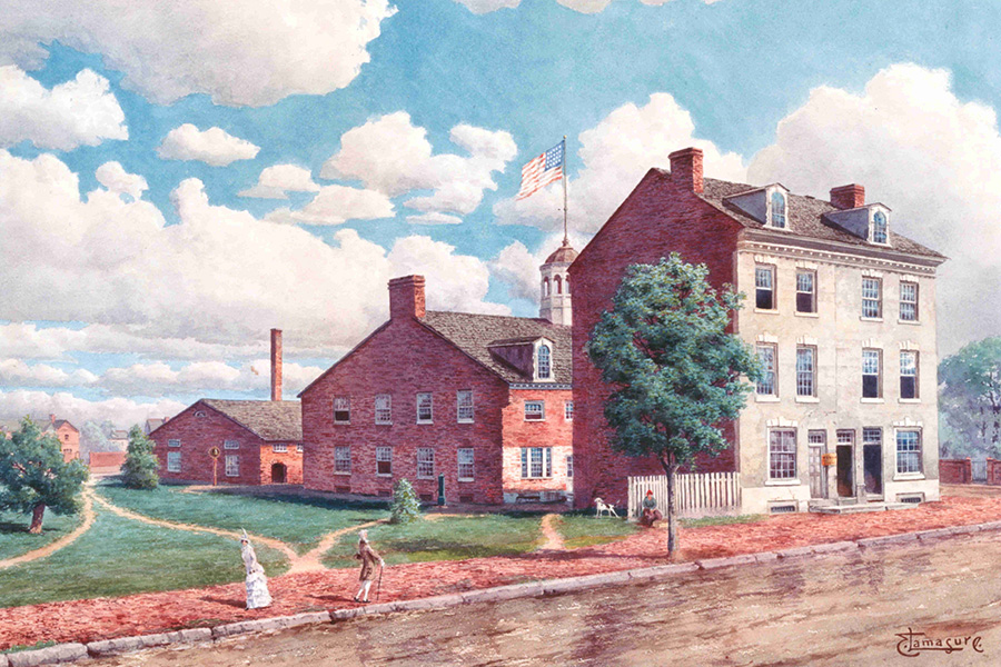 painting of three-story brick building with two smaller buildings behind