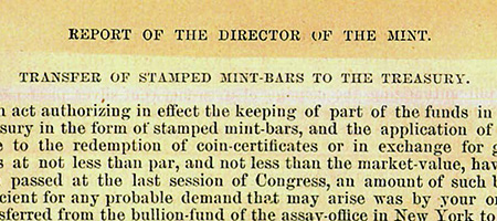 """Report of the Director of the Mint"" excerpt"