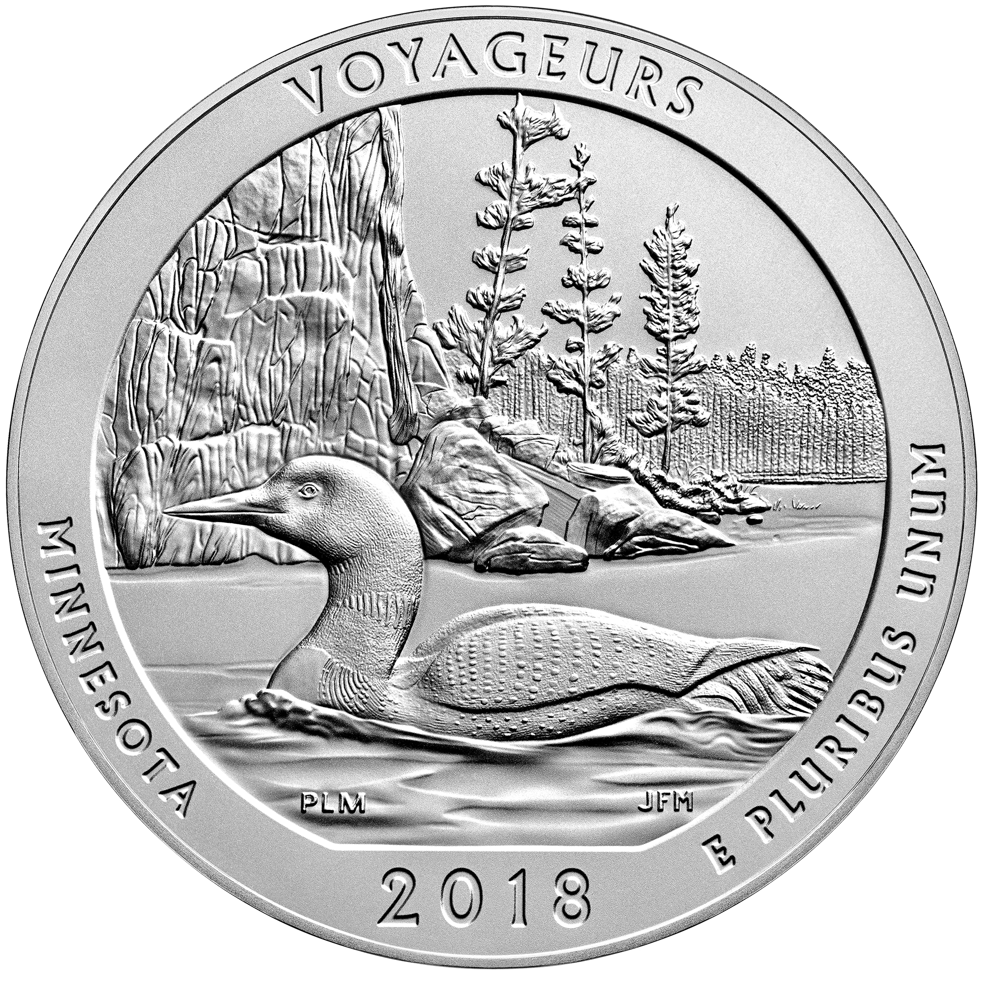 2018 America the Beautiful Quarters Five Ounce Silver Uncirculated Coin Voyageurs Minnesota Reverse