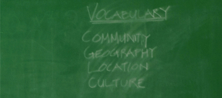 vocabulary on chalkboard