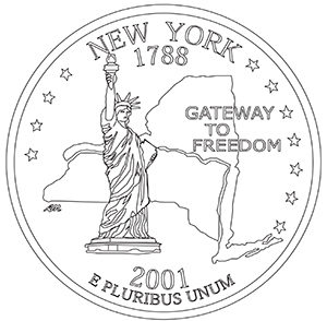 new york 50 state quarter obverse