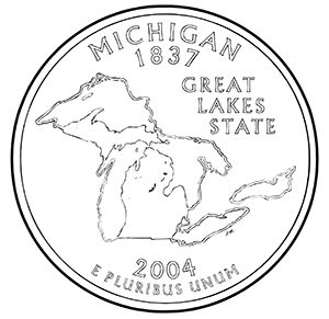 michigan 50 state quarter obverse