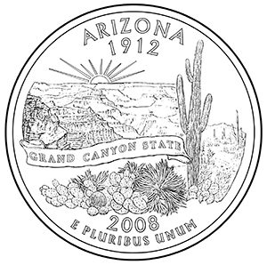 arizona 50 state quarter obverse