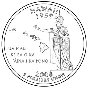 hawaii 50 state quarter obverse
