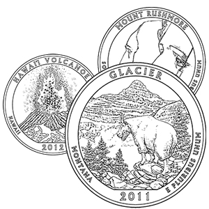america the beautiful quarters coloring pages - glacier, hawaii volcanoes, mt rushmore