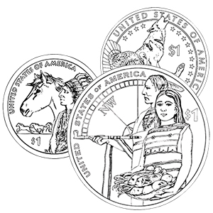 native american dollar coin coloring pages