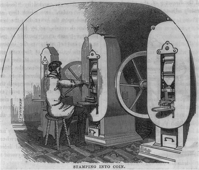 New coining presses fed blank coins onto the lower die, while steam forced down the upper die to strike the coin. From Hutchings' California Magazine, 1856.