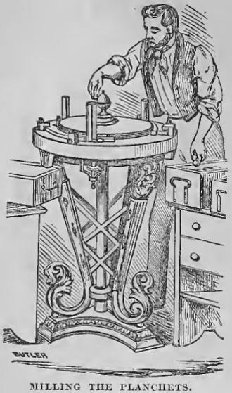 The milling machine fed blank coins into a groove that forced up the edge of the coin. From Hutchings' California Magazine, 1856.