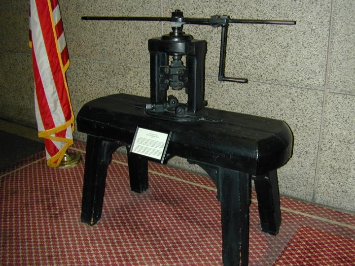 The first screw press used at the Mint. It is currently on display at the Philadelphia Mint.