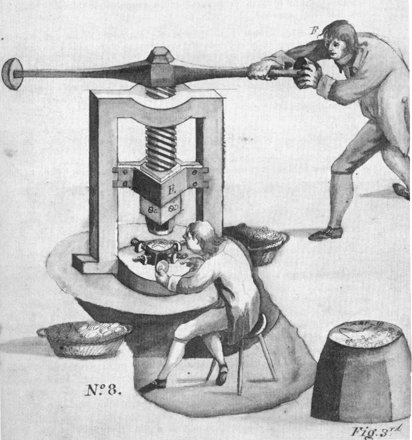 A coin was placed – by a man or fed by a tube – onto the lower die of the screw press while a weighted lever turned the screw that forced the upper die down.