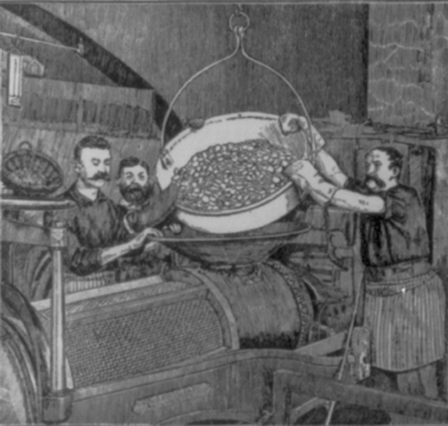 The blank coins were heated, washed in an acidic bath, and dried in a drum filled with sawdust. From Demorest's Family Magazine, 1889.