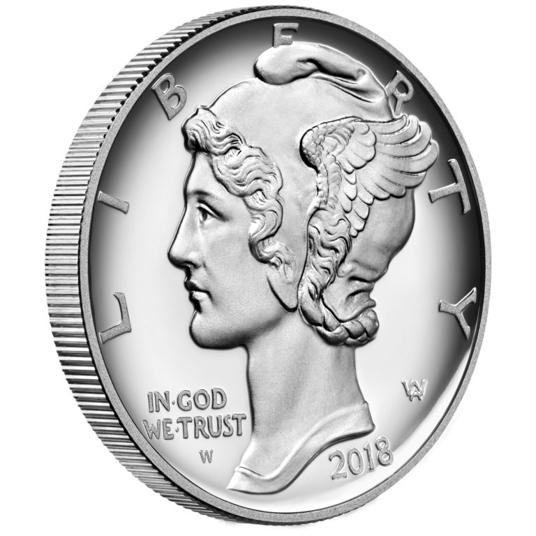 2018 American Eagle Palladium One Ounce Proof Coin Obverse Angle