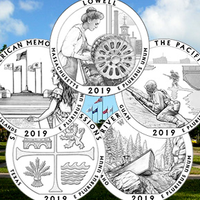 2019 line art quarters, with background photograph of the american memorial park in the mariana islands