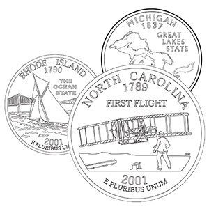 50 state quarter coloring pages - north carolina, rhode island, michigan