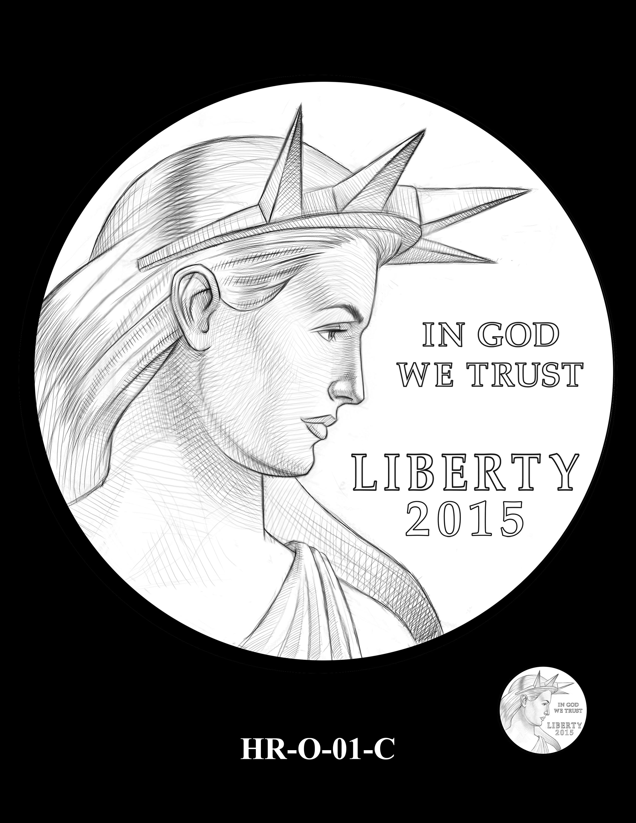 HR-O-01-C -- 2019 American Liberty High Relief 24k Gold Coin/Silver Medal