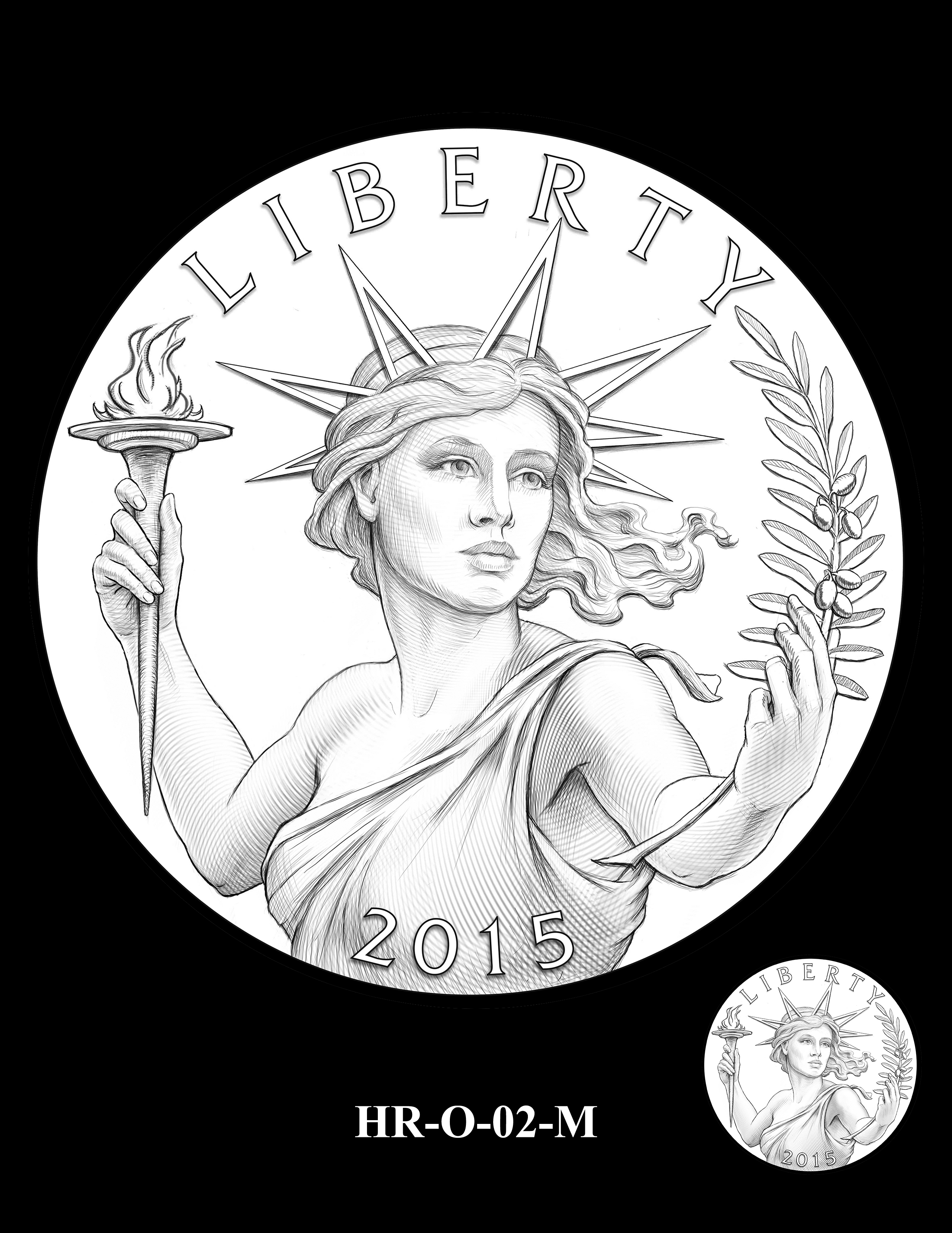 HR-O-02-M -- 2019 American Liberty High Relief 24k Gold Coin/Silver Medal