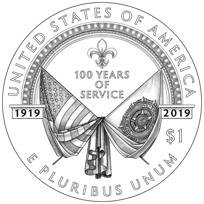 2019 American Legion 100th Anniversary Commemorative Silver Reverse