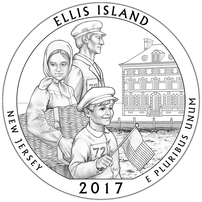 2017 Ellis Island New Jersey Quarter Reverse