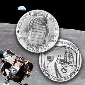 Apollo 11 50th Anniversary Commemorative Coin obverse and reverse with apollo module orbiting the moon