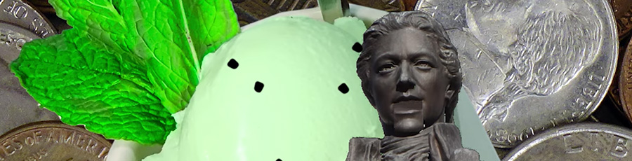 Mint Minute - Alexander Hamilton statue with mint ice cream background