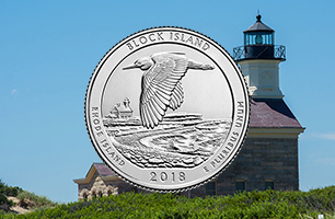Block Island National Wildlife Refuge Quarter with image of lighthouse in background