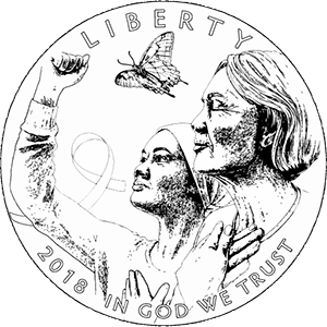 Breast Cancer Awareness commemorative coin line art obverse