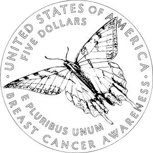 Breast Cancer Awareness commemorative coin line art reverse