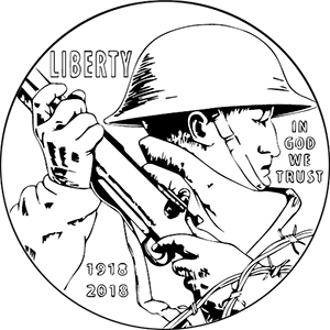 World War I centennial silver dollar line art obverse