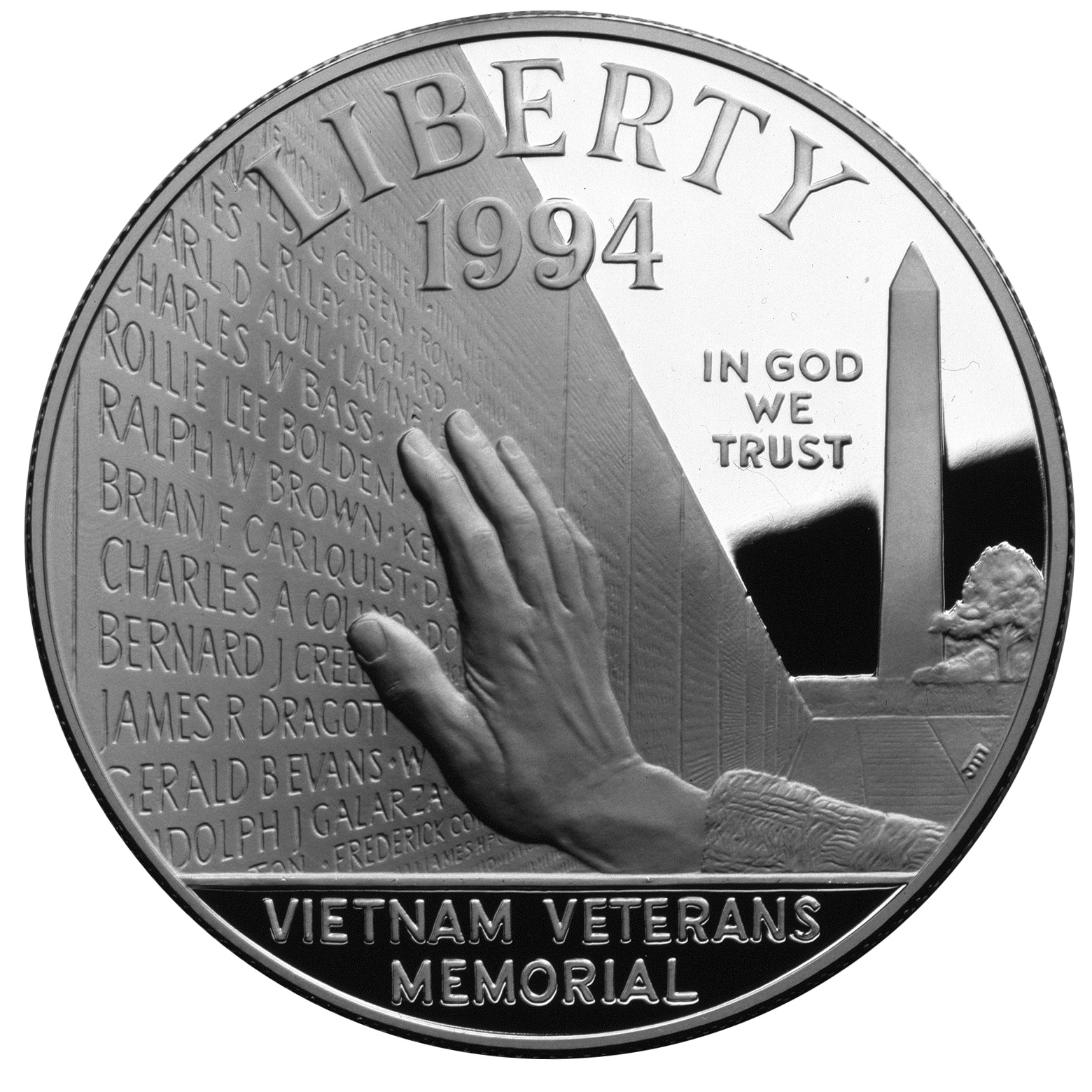 1994 Vietnam Veterans War Memorial Commemorative Silver Dollar Proof Obverse