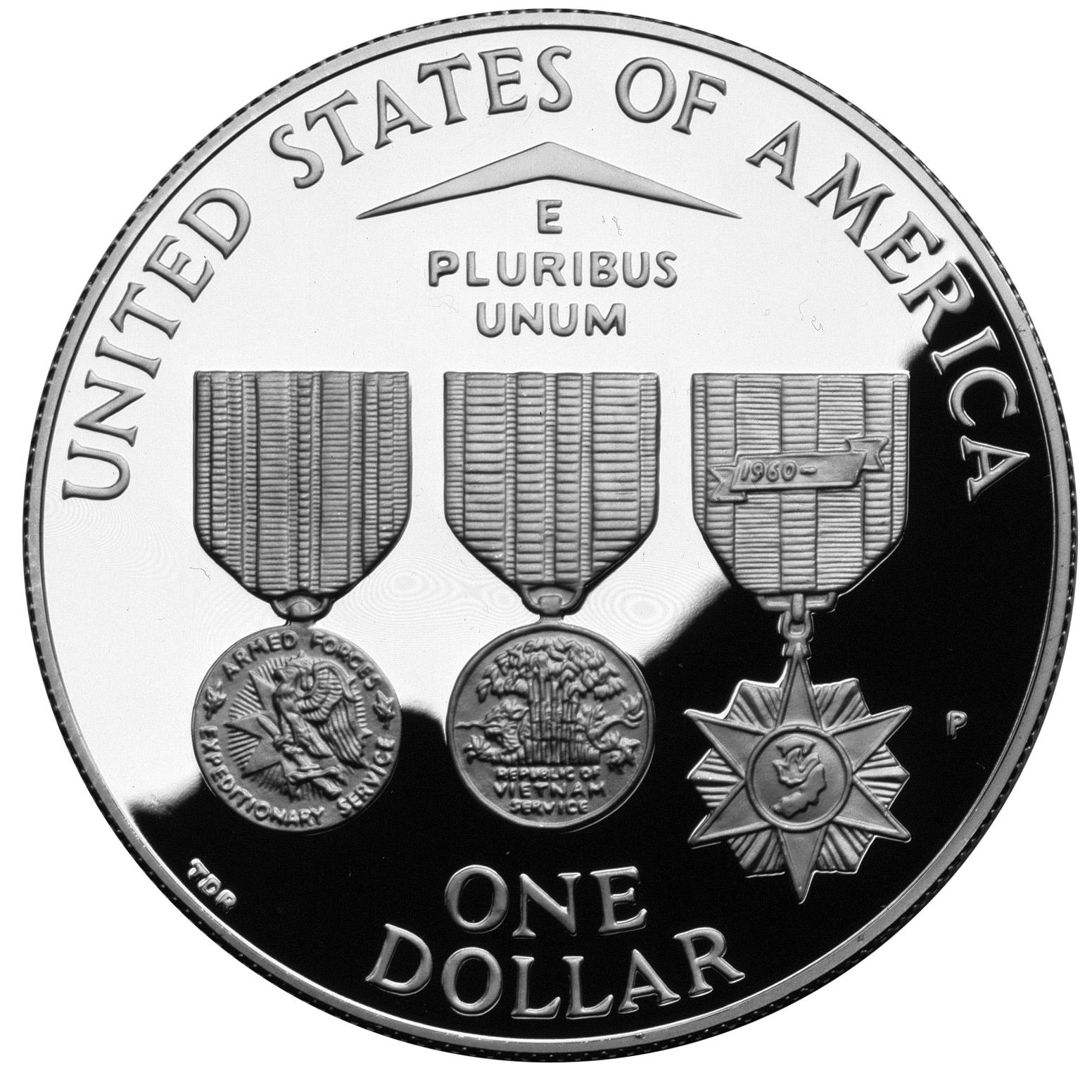 1994 Vietnam Veterans War Memorial Commemorative Silver Dollar Proof Reverse