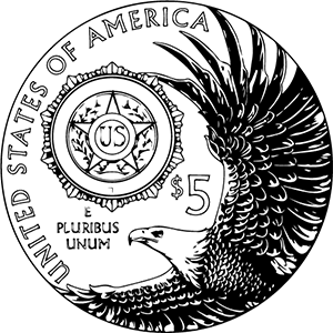 American Legion 100th anniversary commemorative coin line art reverse