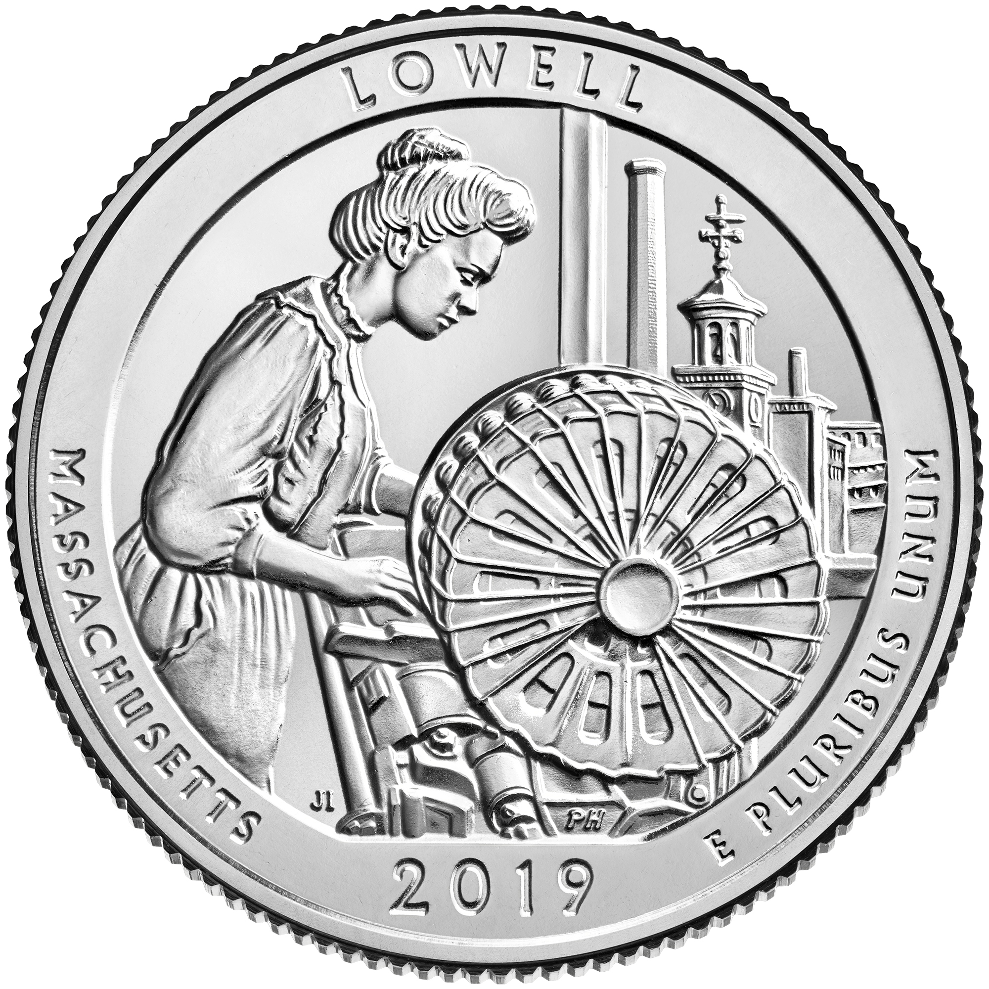 2019 America the Beautiful Quarters Coin Lowell Massachusetts Uncirculated Reverse