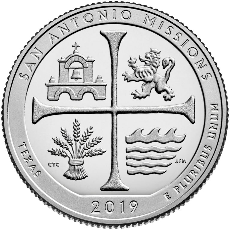 2019 America the Beautiful Quarters Coin San Antonio Missions Texas Proof Reverse