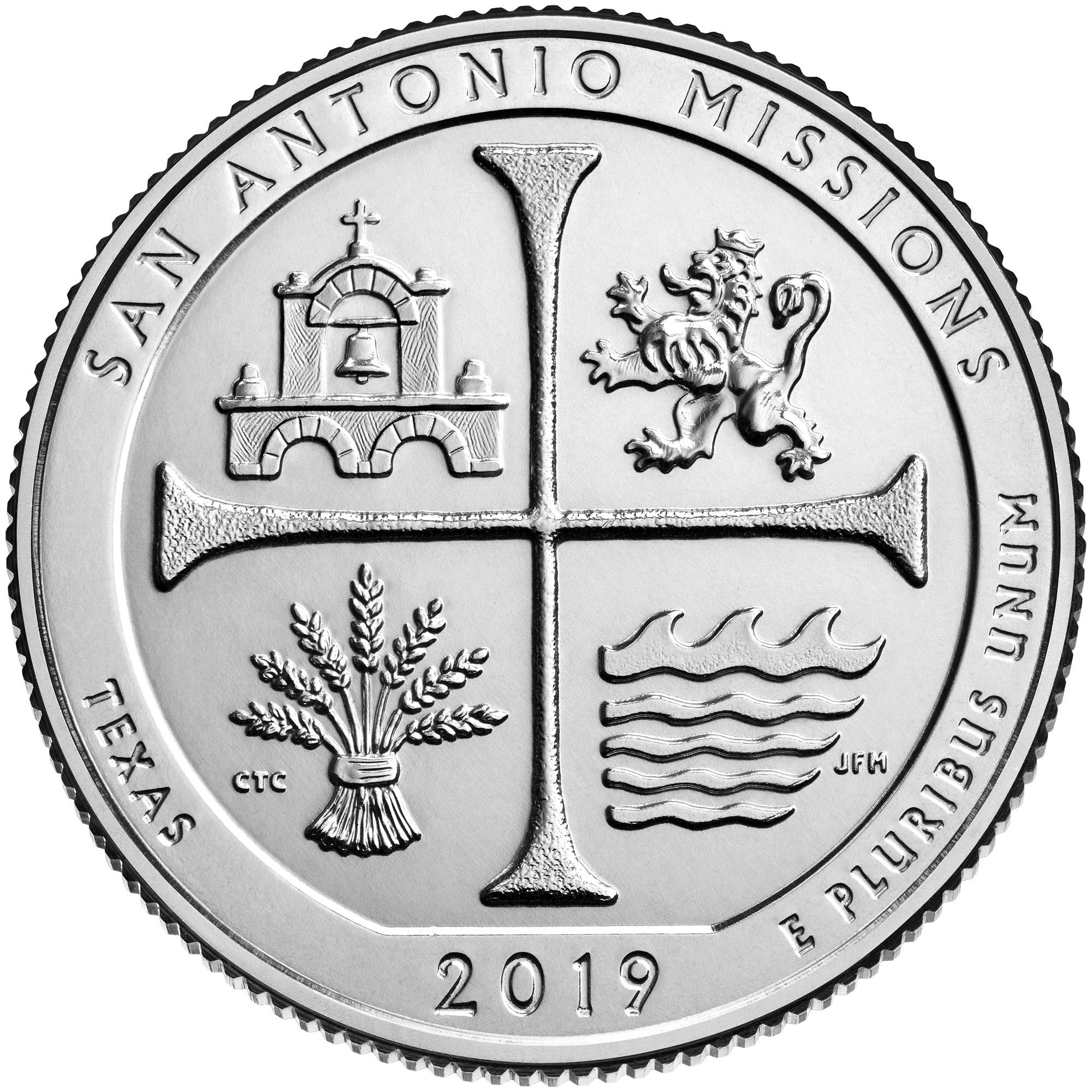 2019 America the Beautiful Quarters Coin San Antonio Missions Texas Uncirculated Reverse