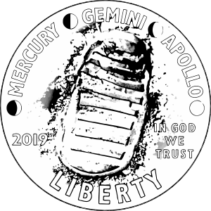 Apollo 11 50th anniversary commemorative coin line art obverse