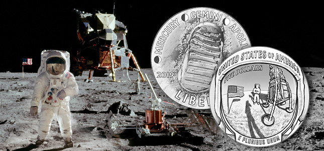 2019 apollo commemorative coin obverse and reverse line art with composite apollo 11 photograph of astronaut standing on moon near lander