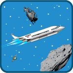 space supply game - cartoon spaceship, asteroid, space debris in the sky